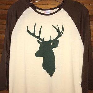 LuLaRoe L Deer Print Randy top